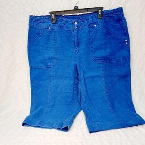 blue 100%linen  womens plus size capris size 20W